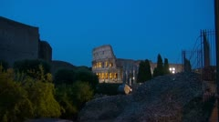 Twilight near Roman Forum and Colliseum in Rome, Italy - stock footage