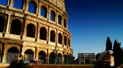 Sunset with Colliseum in Rome, Italy - stock footage