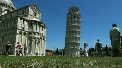The basilica,baptistery  and the Leaning Tower of Pisa - stock footage