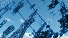 Flight through alien complex structures n1072D Stock Footage
