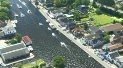 Aereal shots from a helicopter Amsterdam Centre The Netherlands Stock Footage