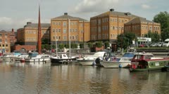 boats moored at the historic gloucester docks, gloucester - stock footage