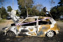 Stock Photo of burned car in Barcelona. spain.