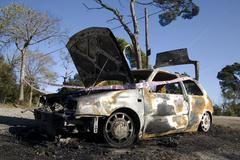 Burned car in Barcelona. spain. Stock Photos