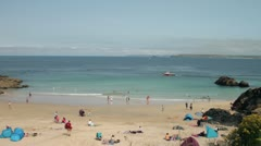 holidaymakers on the beach at porthgwidden beach, st ives, cornwall - stock footage
