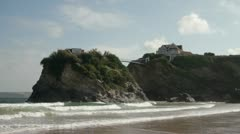View of towan beach and house bridge, newquay, cornwall, england Stock Footage