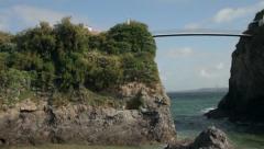 Pan of towan beach and house bridge, newquay, cornwall, england Stock Footage
