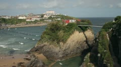 Overall view of towan beach and bridge, newquay, cornwall, england Stock Footage