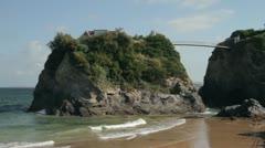 Towan beach and house bridge, newquay, cornwall, england Stock Footage