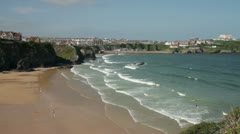 overall view of great western beach and waves, newquay, cornwall, england - stock footage