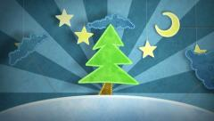 Winter scene with christmas tree loop Stock Footage