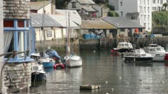 General view on a sunny day of polperro harbour Stock Footage