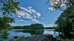 Timelapse of lake and forest landscape on a sunny day Stock Footage