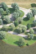 Aerial view of recreational park Stock Photos