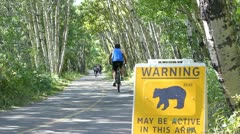 Bear warning in park 2 Stock Footage