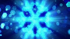 Snowflake shape from blue particles loop Stock Footage