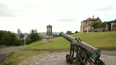 Edinburgh City View Tilt Down to Canon Stock Footage