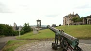 Stock Video Footage of Edinburgh City View Tilt Down to Canon