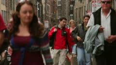 Edinburgh Busy Royal Mile Shot Stock Footage
