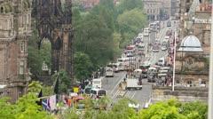 Stock Video Footage of Edinburgh Princes Street from Calton Hill