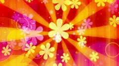 Stock Video Footage of Bright Flowers Retro Looping Animated Background