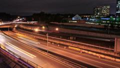 Time Lapse of City Traffic at Night - stock footage