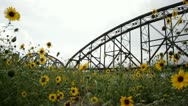 Stock Video Footage of clinton bridge little rock with wildflowers