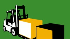 Forklift truck materials handling loading crate box Stock Footage