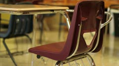Classroom desk and chair - Dolly shot - stock footage