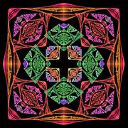 Bright colorful square ornament - stock photo