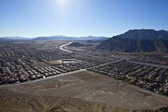 lone mountain view nevada - stock photo