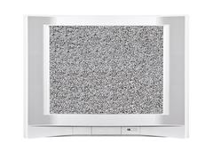Modern silver television with static screen Stock Photos