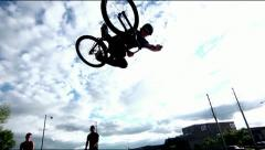 Mountain Bike Big Air in a Skatepark SUPER SLOW MOTION Stock Footage