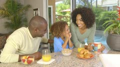 African American family  eating breakfast Stock Footage