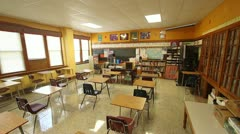 Classroom Interior - Wide Angle Pan Stock Footage