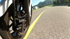 Motorcycle Racing Carving Front Wheel View 2 Stock Footage