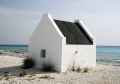 Historical slave houses on bonaire Stock Photos