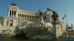 The Victor Emmanuel II monument in Rome TWO  timelapse & slow motion mix Stock Footage