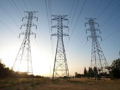 Triple power towers Stock Photos