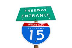 California interstate 15 freeway entrance sign isolated Stock Photos
