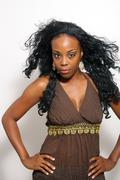 beautiful black fashion model (2) - stock photo