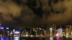 Symphony of Lights on Victoria Harbour in Hong Kong Stock Footage