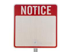 Blank notice caution sign isolated Stock Photos
