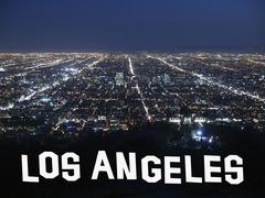 los angeles california night - stock photo
