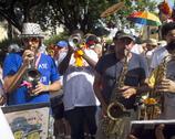 Brazilian street carnival fantasy Stock Photos