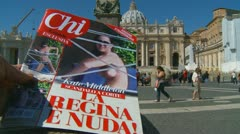 CHI Kate Middleton magazine, St Peters, Rome Stock Footage