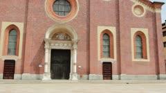 Front door of Santa Maria delle Grazie in Milan Stock Footage