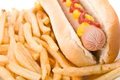 fast food meal with hotdog and french fries in a dish. - stock photo