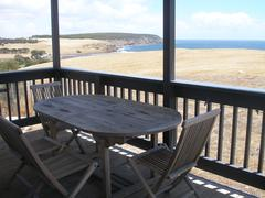 Terrace with view of cliffs and sea Stock Photos