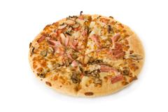 Pizza with mushrooms, ham and pineapple isolated on white Stock Photos